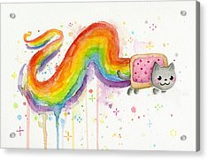 Nyan Cat Watercolor Acrylic Print by Olga Shvartsur