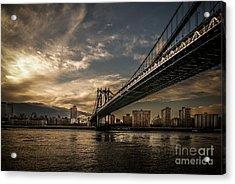 Nyc - Manhatten Bridge - Hdr- Sun Acrylic Print by Hannes Cmarits