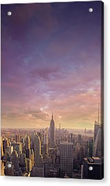Nyc At Sunset Acrylic Print by Bluberries