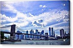 Nyc Brooklyn Bridge City Acrylic Print by Alex Pochinok