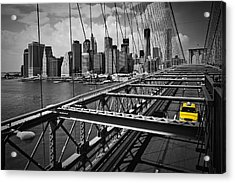 Nyc Brooklyn Bridge View Acrylic Print by Melanie Viola