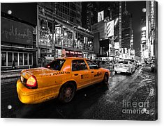 Nyc Cab Times Square Color Popped Acrylic Print by John Farnan