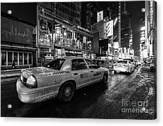 Nyc Cab Times Square Acrylic Print by John Farnan