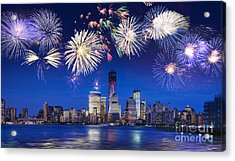 Nyc Fireworks Acrylic Print by Delphimages Photo Creations