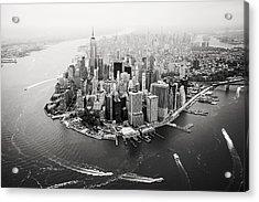Nyc Manhattan Aerial Acrylic Print by Nina Papiorek