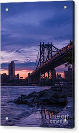 Nyc - Manhatten Bridge At Night II Acrylic Print by Hannes Cmarits