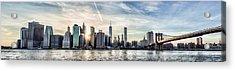 Nyc Skyline At Sunset Acrylic Print by Zev Steinhardt
