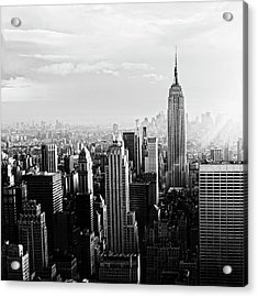 Nyc Skyline.black And White Acrylic Print by Lisa-blue