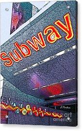 Nyc Subway Acrylic Print by Linda  Parker