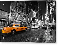 Nyc Taxi Times Square Color Popped Acrylic Print by John Farnan