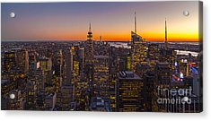 Nyc Top Of The Rock Sunset Acrylic Print