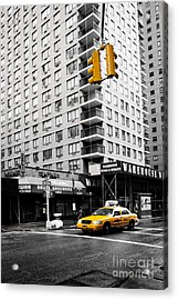 Nyc  Yellow Cab At The Crossroad Acrylic Print by Hannes Cmarits