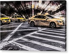 Nyc Yellow Cab On 5th Street - White Acrylic Print by Hannes Cmarits