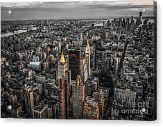 Nycs Golden Tops Acrylic Print by Hannes Cmarits