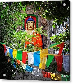 Nyetang Buddha And Prayer Flags Acrylic Print