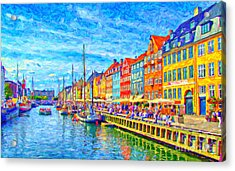 Nyhavn In Denmark Painting Acrylic Print