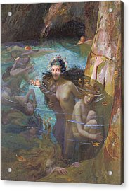 Nymphs At A Grotto Acrylic Print by Gaston Bussiere