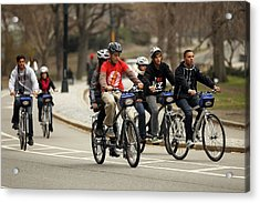 Nypd Steps Up Ticketing Of City Bicyclists Acrylic Print by Spencer Platt