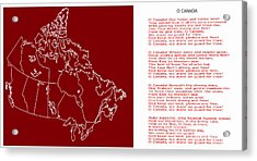O Canada Lyrics And Map Acrylic Print