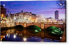 Acrylic Print featuring the photograph O Connell Bridge At Night - Dublin by Barry O Carroll