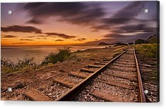 Oahu Rail Road Track Sunset Acrylic Print