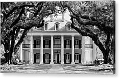 Oak Alley Mansion Black And White Acrylic Print