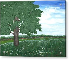 Acrylic Print featuring the painting Oak Tree In Summer Meadow by Penny Hunt