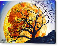 Oak Tree Moonrise Acrylic Print by Douglas Castleman
