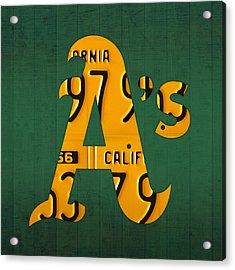 Oakland Athletics Vintage Baseball Logo License Plate Art Acrylic Print by Design Turnpike