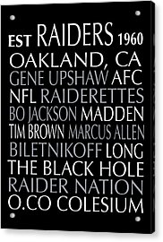 Oakland Raiders Acrylic Print by Jaime Friedman