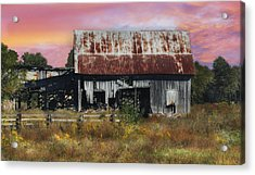 Oakwood Barn At Sunrise Acrylic Print