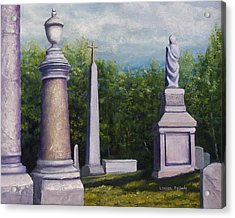 Acrylic Print featuring the painting Oakwood Cemetery Jefferson Texas by Lenora  De Lude