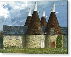 Oast Houses Acrylic Print by Tom Wooldridge