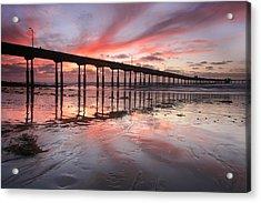Ob Pier Reflection Sunset Acrylic Print by Scott Cunningham