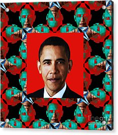 Obama Abstract Window 20130202p0 Acrylic Print by Wingsdomain Art and Photography