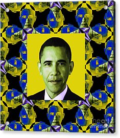 Obama Abstract Window 20130202p55 Acrylic Print by Wingsdomain Art and Photography