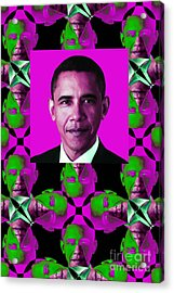Obama Abstract Window 20130202verticalm60 Acrylic Print by Wingsdomain Art and Photography
