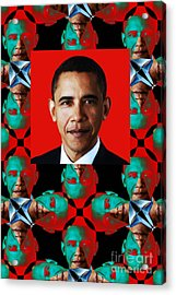 Obama Abstract Window 20130202verticalp0 Acrylic Print by Wingsdomain Art and Photography