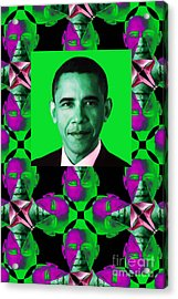 Obama Abstract Window 20130202verticalp128 Acrylic Print by Wingsdomain Art and Photography