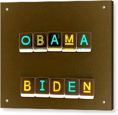 Obama Biden Words. Acrylic Print by Oscar Williams
