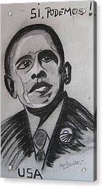 Obama Acrylic Print by Roger Cummiskey