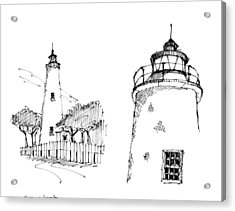 Acrylic Print featuring the drawing Ocaracoke Lighthouse Detail Sketches 1992 by Richard Wambach