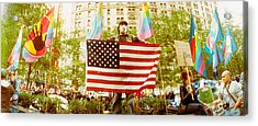 Occupy Wall Street Protester Holding Acrylic Print by Panoramic Images