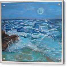 Acrylic Print featuring the drawing Ocean 1 by Joseph Hawkins