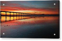 Ocean Beach California Pier 3 Panorama Acrylic Print by Larry Marshall