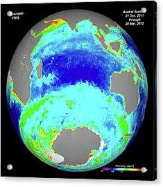 Ocean Chlorophyll Concentrations Acrylic Print by Nasa/suomi Npp/norman Kuring
