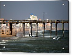 Acrylic Print featuring the photograph Ocean City Fishing Pier In January by Bill Swartwout