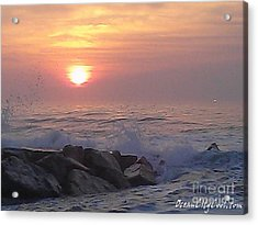 Acrylic Print featuring the photograph Ocean City Inlet Jetty At Sunrise by Robert Banach