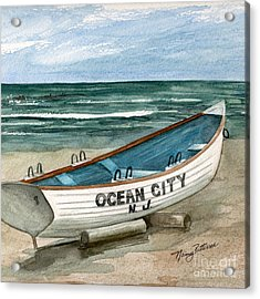 Ocean City Lifeguard Boat 2  Acrylic Print by Nancy Patterson