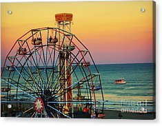 Ocean City Nj Wonder Wheel And Double Shot Acrylic Print
